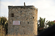 Greece, Rhodes, old and neglected windmill stone base