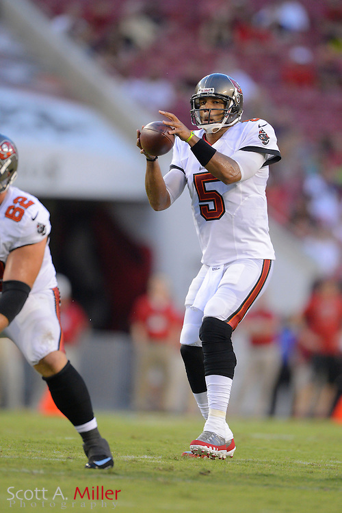 Tampa Bay Buccaneers quarterback Josh Freeman (5) during a preseason NFL game at Raymond James Stadium on Aug. 8, 2013 in Tampa, Florida. <br /> <br /> &copy;2013 Scott A. Miller