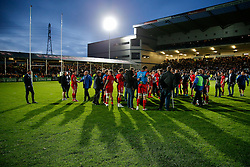 Bristol Rugby players look dejected after Worcester score a converted try with the last play of the game to draw the match 30-30 and win by 1 point over the two legs to deny Bristol promotion to the Aviva Premiership - Photo mandatory by-line: Rogan Thomson/JMP - 07966 386802 - 27/05/2015 - SPORT - Rugby Union - Worcester, England - Sixways Stadium - Worcester Warriors v Bristol Rugby - Greene King IPA Championship Play-Off Final 2nd Leg.