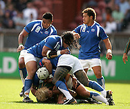 Paris, FRANCE - 9th September 2007, A scuffle breaks out during the Rugby World Cup, pool A, match between South Africa and Samoa held at Parc Des Princes Stadium in Paris, France...Photo by RG/Sportzpics.net