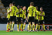 Burton Albion forward Liam Boyce (27) heads and scores a goal and celebrates, 1-0 during the EFL Sky Bet League 1 match between Burton Albion and Southend United at the Pirelli Stadium, Burton upon Trent, England on 2 October 2018.