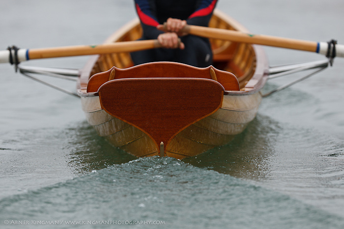 """Todd Oppenheimer rowing the  """"Kohlenberg"""" boat, just built for the Dolphin Club by Jeremy Fisher-Smith"""