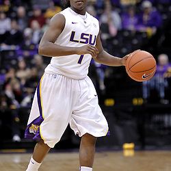 December 10, 2011; Baton Rouge, LA; LSU Tigers guard Anthony Hickey (1) against the Boise State Broncos during the first half of a game at the Pete Maravich Assembly Center.  Mandatory Credit: Derick E. Hingle-US PRESSWIRE