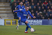 AFC Wimbledon midfielder Dylan Connolly (16) dribbling during the The FA Cup 5th round match between AFC Wimbledon and Millwall at the Cherry Red Records Stadium, Kingston, England on 16 February 2019.