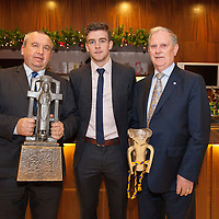 Martin McDonagh, Chairman of the GAA Clare County Board, Tony Kelly (Capt) Ballyea and Pat O'Donnell, Clare GAA Main Sponsor at the Clare U21 Hurling Final Winners Medal presentation in the West County Hotel on Saturday 06 Dec