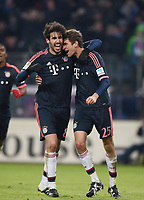 Fotball<br /> Tyskland<br /> 22.01.2016<br /> Foto: Witters/Digitalsport<br /> NORWAY ONLY<br /> <br /> 1:2 Jubel v.l. Javier ''Javi'' Martinez, Thomas Mueller  (Bayern)<br /> <br /> Hamburg, 22.01.2016, Fussball Bundesliga, Hamburger SV - FC Bayern München