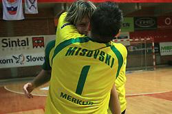 Jure Dolenec and Petar Misovski celebrate at handball game RD Slovan vs RD Merkur  in 7th round of MIK First league, on October 24, 2008 in Ljubljana, Slovenia. (Photo by Vid Ponikvar / Sportal Images)