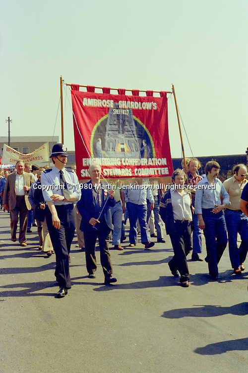Ambrose Shardlow's banner at the start of a march against anti trade union legislation. Sheffield 1980.