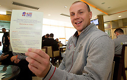 Goazd Skof of Slovenia Men Handball team during 3rd day of 10th EHF European Handball Championship Serbia 2012, on January 17, 2012 in Hotel Srbija, Vrsac, Serbia.  (Photo By Vid Ponikvar / Sportida.com)
