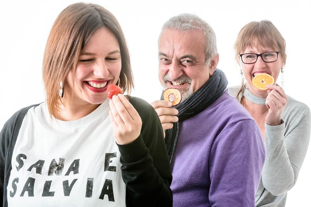09 MAR 2017 - Pinasca (TO) - &quot;Green Berry&quot; azienda agricola: Manuela Rostan, <br /> Sergio Laggiard, Severine Cotte (occhiali).