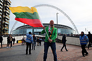 Lithuania fan with flag during the FIFA World Cup Qualifier group stage match between England and Lithuania at Wembley Stadium, London, England on 26 March 2017. Photo by Matthew Redman.
