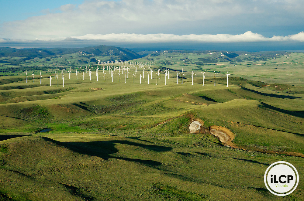 An aerial view of the Foote Creek Rim wind farm near Arlington, in Carbon County, Wyoming. LightHawk flight with pilot Mike Conway over south-central Wyoming wind farms and landscapes on June 14, 2011. iLCP Tripods in the Sky Wyoming Wind Development. iLCP Tripods in the Sky Wyoming Wind Development.