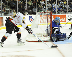Action from Game 4 of the MasterCard Memorial Cup between the Saint John Sea Dogs and Owen Sound Attack at the Hershey Centre in Mississauga, ON on Monday May 23, 2011. Photo by Aaron Bell/CHL Images