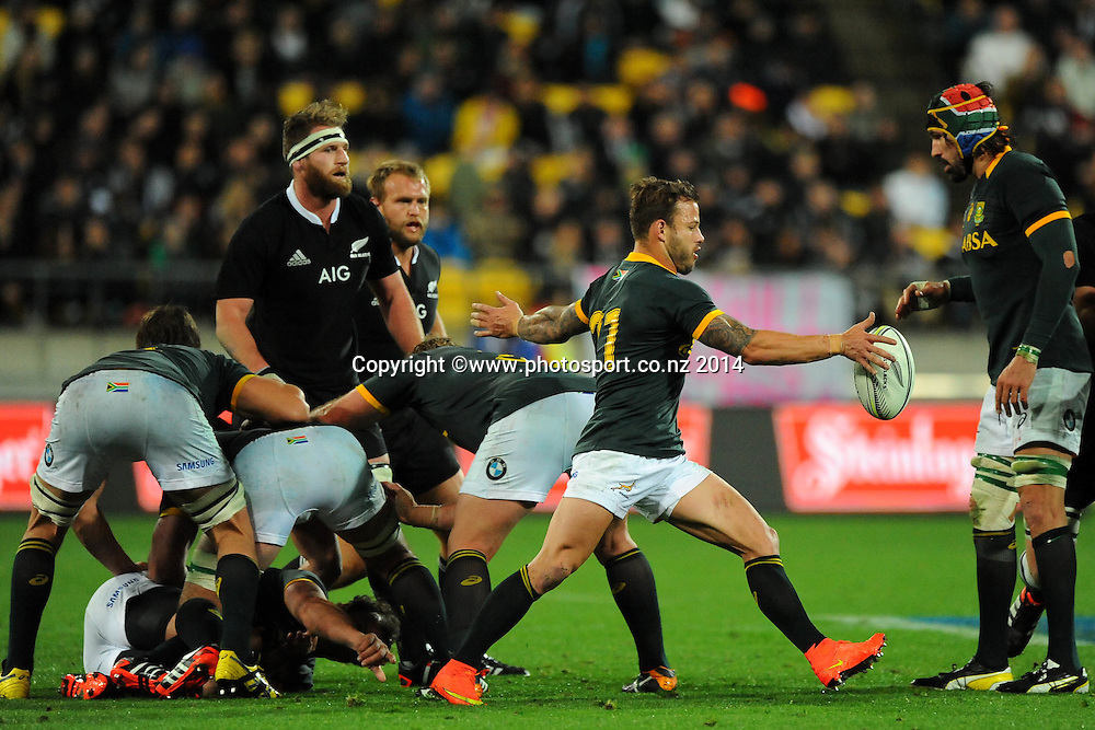 South African Francois Hougaard during the Rugby Championship Rugby Union Test Match New Zealand All Blacks v South Africa. Westpac Stadium, Wellington, New Zealand. Saturday 13 September 2014. Photo: Chris Symes/www.photosport.co.nz