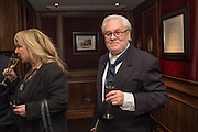 HELEN LEDERER; TONY COBB, David Campbell Publisher of Everyman's Library and Champagen Bollinger celebrate the completion of the Everyman Wodehouse in 99 volumes and the 2015 Bollinger Everyman Wodehouse prize shortlist. The Archive Room, The Goring Hotel. London. 20 April 2015.