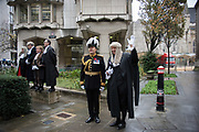 IAN DYSON, COMMISSIONER OF THE CITY OF LONDON POLICE,PAUL DOUBLE, CITY REMEMBRANCER,  Lord Mayor's show London. 11 November 2017.