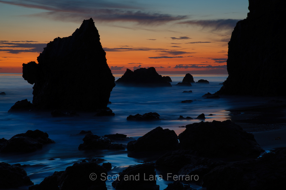 El Matador State Beach is one of the few places sea stacks can be found in Southern California.  This photo was taken just after sunset, while the sky is still full of color, but dark enough to allow a slow exposure to blur the waves so that they appear as a low mist.