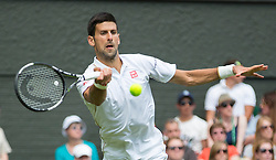 WIMBLEDON - UK - 27th June 2016: The Wimbledon Tennis Championships start at the All England Lawn Tennis Club, Wimbledon. S.E. London.<br /> <br /> Pic shows.;  Novak Djokovic (Serbia) plays James Ward (GB) watched by Pippa Middleton ( sister of Kate Middleton - HRH Duchess of Cambridge)<br /> Photo by Ian Jones