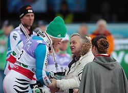 17.02.2013, Planai, Schladming, AUT, FIS Weltmeisterschaften Ski Alpin, Slalom, Herren, 2. Durchgang, im Bild Felix Neureuther (GER, 2. Platz), Gian Franco Kasper (FIS Präsident) // 2nd place Felix Neureuther of Germany, Gian Franco Kasper (FIS Präsident) after 2nd run of the mensSlalom at the FIS Ski World Championships 2013 at the Planai Course, Schladming, Austria on 2013/02/17. EXPA Pictures © 2013, PhotoCredit: EXPA/ Johann Groder