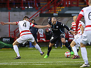 Dundee's Gary Harkins takes on Hamilton's Mikey Devlin and Alex Neil -  Hamilton Academical v Dundee, SPFL Premiership at New Douglas Park<br /> <br />  - &copy; David Young - www.davidyoungphoto.co.uk - email: davidyoungphoto@gmail.com