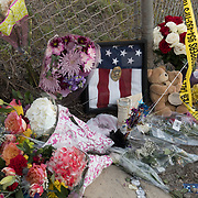 FRIDAY, FEBRUARY 16- 2018---PARKLAND, FLORIDA--<br /> Well wishers leave flowers and other items  to honor the victims of the  school massacre at Marjory Stonemason Douglass High School. <br /> (Photo by Angel Valentin/FREELANCE)