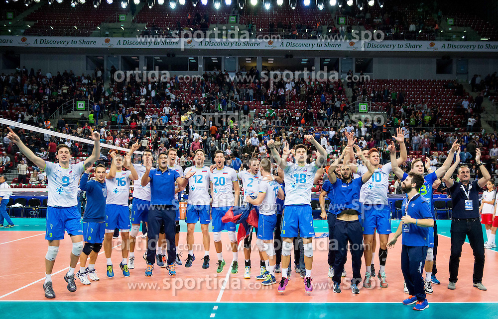 Players of Slovenia celebrate after winning during volleyball match between National teams of Slovenia and Italy in 1st Semifinal of 2015 CEV Volleyball European Championship - Men, on October 17, 2015 in Arena Armeec, Sofia, Bulgaria. Photo by Vid Ponikvar / Sportida