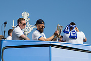 Brighton & Hove Albion full back Bruno Saltor (Captain) with the trophy and Brighton & Hove Albion goalkeeper David Stockdale during the Brighton & Hove Albion Football Club Promotion Parade at Brighton Seafront, Brighton, East Sussex. United Kingdom on 14 May 2017. Photo by Ellie Hoad.