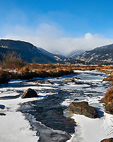 Snow and Ice covered stream in Rocky Mountain National Park. Image taken with a Nikon D300 camera and 17-35 mm f/2.8 lens (ISO 200, 20 mm, f/11, 1/160 sec).