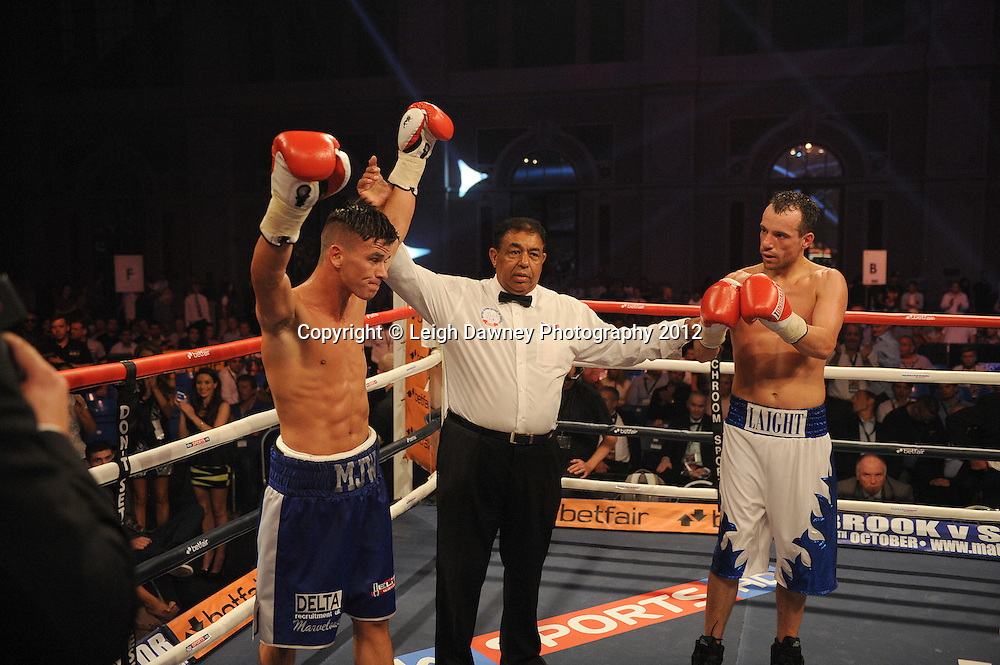 Martin J Ward (pro debut fight) defeats Kristian Laight in a 4x3 Lightweight contest at Alexandra Palace, Muswell Hill, North London on Saturday 8th September 2012. Matchroom Sport. Pictures © Leigh Dawney Photography 2012.