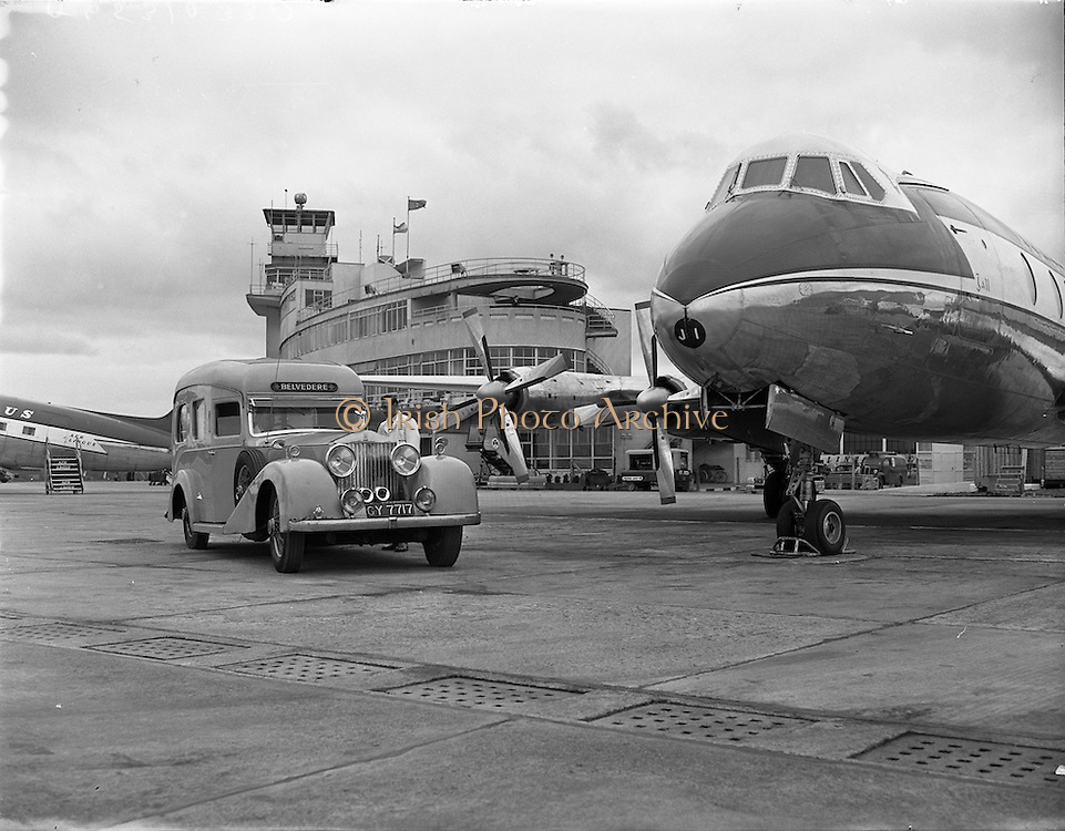 17/04/1958<br /> 04/17/1958<br /> 17 April 1958<br /> Picture of Belvedere Ambulance with Viscount aircraft at Dublin Airport for Aer Lingus.