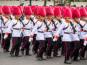 02 DECEMBER 2014 - BANGKOK, THAILAND: Thai military units march in the annual Trooping of the Colors parade on Sanam Luang in Bangkok. The Thai Royal Guards parade, also known as Trooping of the Colors, occurs every December 2 in celebration of the birthday of Bhumibol Adulyadej, the King of Thailand. The Royal Guards of the Royal Thai Armed Forces perform a military parade and pledge loyalty to the monarch. Historically, the venue has been the Royal Plaza in front of the Dusit Palace and the Ananta Samakhom Throne Hall. This year it was held on Sanam Luang in front of the Grand Palace.    PHOTO BY JACK KURTZ