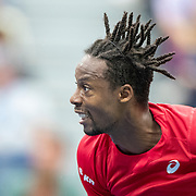 2019 US Open Tennis Tournament- Day Ten.   Gael Monfils of France in action against Matteo Berrettini of Italy in the Men's Singles Quarter-Finals match on Arthur Ashe Stadium during the 2019 US Open Tennis Tournament at the USTA Billie Jean King National Tennis Center on September 4th, 2019 in Flushing, Queens, New York City.  (Photo by Tim Clayton/Corbis via Getty Images)