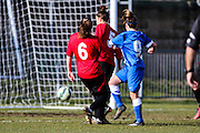 Brighton's Charlotte Owen scores during the FA Women's Sussex Challenge Cup semi-final match between Brighton Ladies and Hassocks Ladies FC at Culver Road, Lancing, United Kingdom on 15 February 2015. Photo by Geoff Penn.