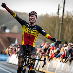 2019-12-14 Cycling: dvv verzekeringen trofee: Ronse: Toon Aerts celebrating his victory in Ronse