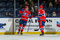 KELOWNA, BC - FEBRUARY 06:  Luke Toporowski #22 and Jake McGrew #8 of the Spokane Chiefs celebrate a goal against the Kelowna Rockets at Prospera Place on February 6, 2019 in Kelowna, Canada. (Photo by Marissa Baecker/Getty Images)