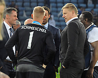 Football - 2015 / 2016 Premier League - Leicester City vs. Everton<br /> <br /> Kasper Schmeichel of Leicester with his father, Peter at the King Power Stadium.<br /> <br /> COLORSPORT/ANDREW COWIE
