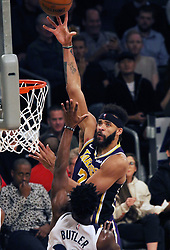November 7, 2018 - Los Angeles, California, U.S - JaVale McGee #7 of the Los Angeles Lakers puts up a shot during their NBA game with the Minneapolis Timberwolves on Wednesday November 7, 2018 at the Staples Center in Los Angeles, California. Lakers defeat Timberwolves, 114-110. (Credit Image: © Prensa Internacional via ZUMA Wire)