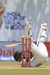 July 27, 2017 - Galle, Sri Lanka - Indian cricketer Hardik Pandya loses his balance while batting during  the 2nd Day's play in the 1st Test match between Sri Lanka and India at the Galle International cricket stadium, Galle, Sri Lanka on Thursday 27 July 2017. (Credit Image: © Tharaka Basnayaka/NurPhoto via ZUMA Press)