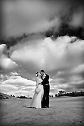 Orange County Bride and Groom Kissing on the Golf Course