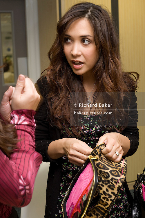 Multi-talented musician, presenter, broadcaster, astronomy student, mother and now childrens' clothing range designer Myleene Klass spends the day at British mother and baby clothing and equipment retailer, Mothercare, at their UK Headquarters in Watford, north of London, England, UK. She is in conference with Mothercare executives deciding on the final stages of their product range before launching Myleene's 'Baby K' collection in March 2009.