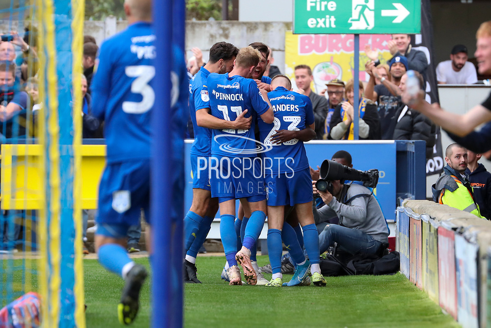 AFC Wimbledon defender Paul Osew (37) celebrating after scoring goal to make it 2-0 during the EFL Sky Bet League 1 match between AFC Wimbledon and Rochdale at the Cherry Red Records Stadium, Kingston, England on 5 October 2019.