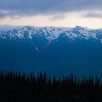 The sun set over Hurricane Ridge as the clouds rolled in over Mount Olympus casting a blue shadow over the alpine peaks of Olympic National Park.