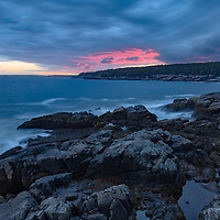 Sunset at Otter Point, on the southeast corner of Acadia National Park, Maine.