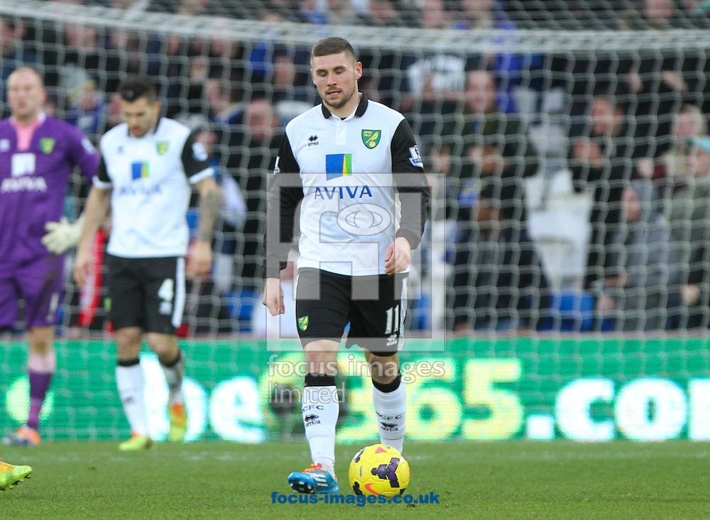 Picture by Tom Smith/Focus Images Ltd 07545141164<br /> 01/02/2014<br /> Gary Hooper (centre) of Norwich City appears dejected after Cardiff level the scores during the Barclays Premier League match at the Cardiff City Stadium, Cardiff.