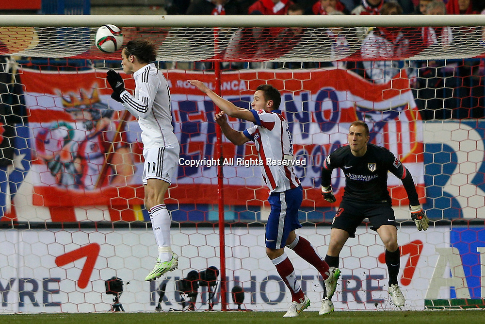 07.01.2015. Madrid, Spain. Copa del Rey Cup football. Atletico Madrid versus real madrid. Gareth  Bale Midfielder of Real Madrid with the header on goal