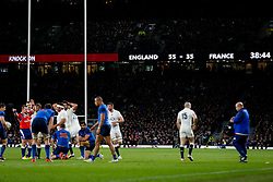 England lead France 55-35 in the dying moments of the game in need of a further 6 points to win the Six Nations Championship - Photo mandatory by-line: Rogan Thomson/JMP - 07966 386802 - 21/03/2015 - SPORT - RUGBY UNION - London, England - Twickenham Stadium - England v France - 2015 RBS Six Nations Championship.