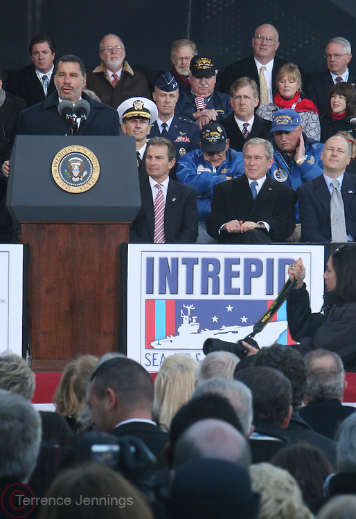 Governor David Patterson at The 2008 Veterans Day  Ceremonies at the Intrepid Sea, Air, & Space Musem on November 11, 2008 in NYC