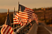 American flags attached to a bridge over the Santa Cruz River blow in the wind in Green Valley, Arizona, USA.