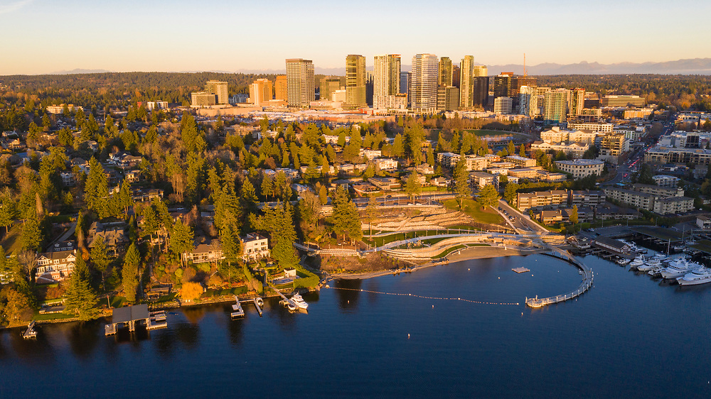 United States, Washington, Bellevue, aerial view of Meydenbauer Park, Meydenbauer Bay, and Bellevue skyline