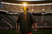 KNOXVILLE,TN - AUGUST 13, 2015 - Tennessee Volunteers Offensive Line Coach Don Mahoney during Fall Camp practice on in Neyland Stadium in Knoxville, TN. Photo By Craig Bisacre/Tennessee Athletics
